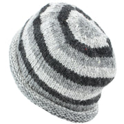 Chunky Wool Knit Beanie Hat with Rolled Brim - Grey