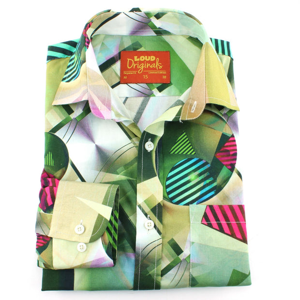 Regular Fit Long Sleeve Shirt - Green & Red Abstract