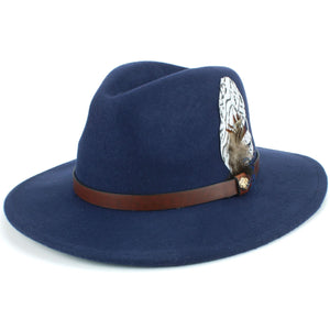 Wool Felt Fedora with Feather - Navy