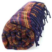 Vegan Wool Shawl Blanket - Stripe - Navy Sunset