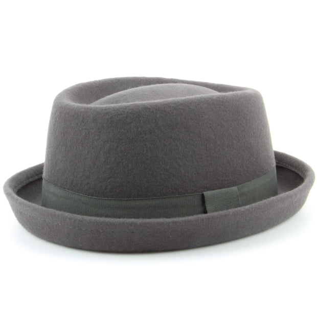 100% Wool felt Pork pie hat with band - Grey