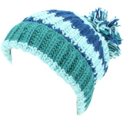 Chunky Wool Knit Baggy Slouch Striped Beanie Bobble Hat - Blue