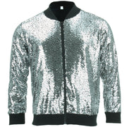 Unisex Sequin Bomber Jacket - Silver