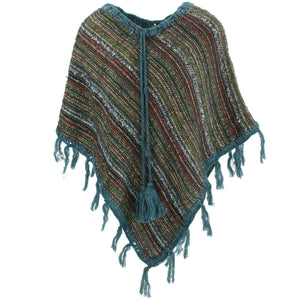 Stripe Crochet Poncho Short - Green Multi/Blue