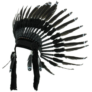 Native Amercian Chief Headdress - Black