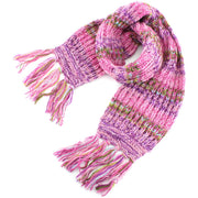Long Chunky Knit Wool Multi Mix Scarf - Pink Mix