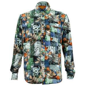 Regular Fit Long Sleeve Shirt - Autumn Patchwork - Blue