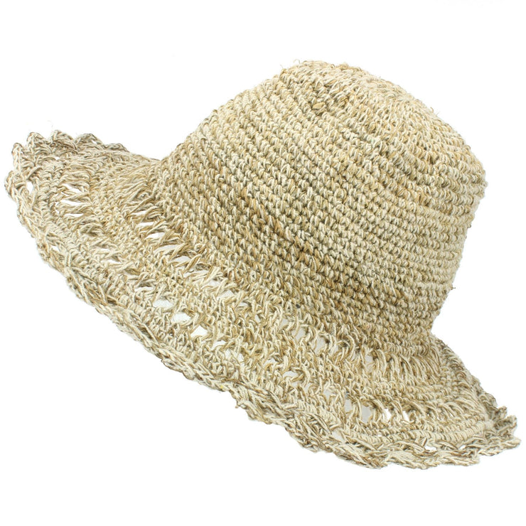 Hemp & Cotton Crochet Sun Hat - Natural