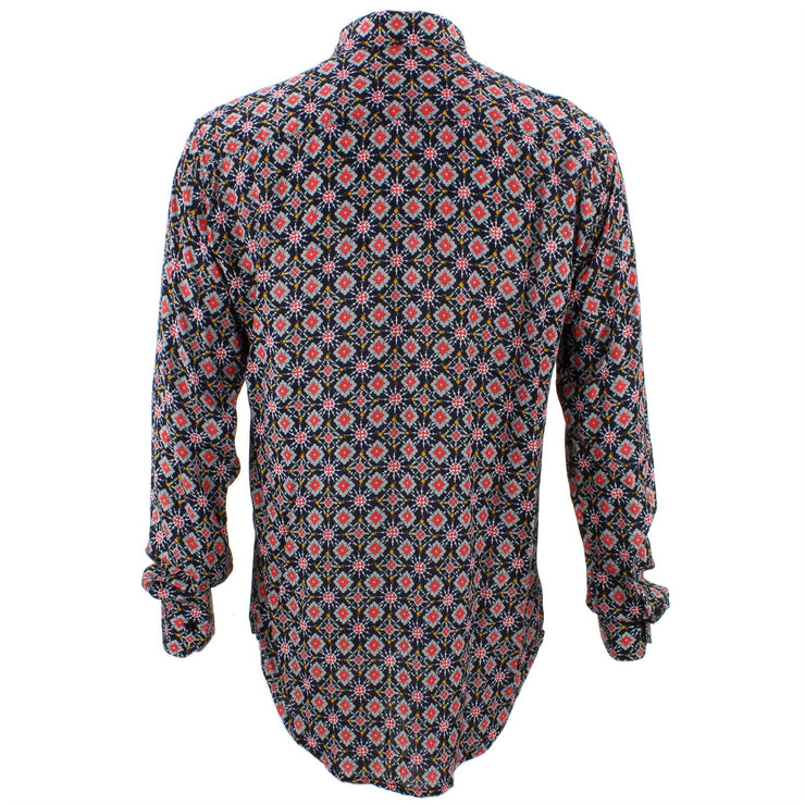 Tailored Fit Long Sleeve Shirt - Red & Grey Abstract on Black
