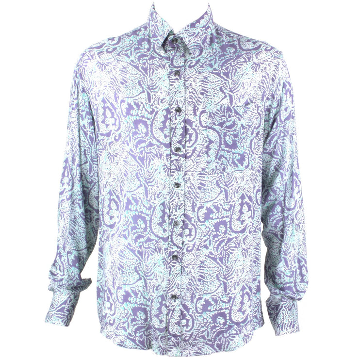 Regular Fit Long Sleeve Shirt - Blue Grey Abstract