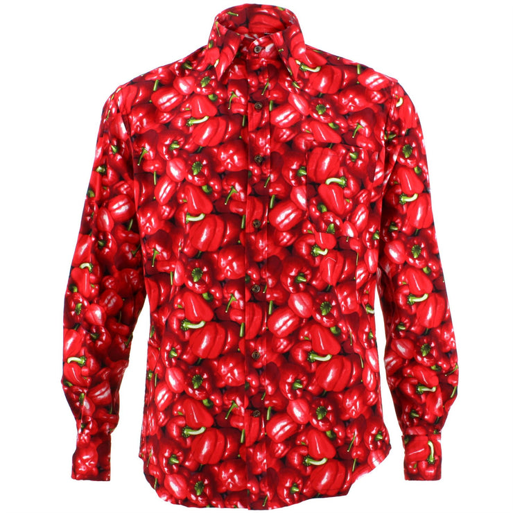 Tailored Fit Long Sleeve Shirt - Red Peppers