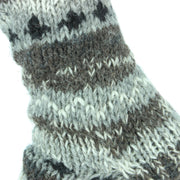 Chunky Wool Knit Abstract Pattern Fleece Lined Socks - Grey