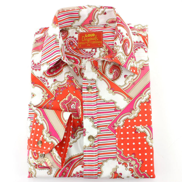 Tailored Fit Long Sleeve Shirt - Orange & Pink Paisley
