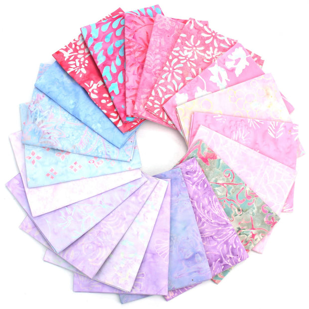 Cotton Batik Pre Cut Fabric Bundles - Fat Quarter - Purples