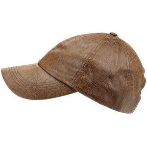 Leather Effect Baseball Cap - Brown