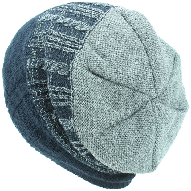 Wool Knit Baggy Slouch Beanie Hat - Navy