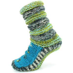 Chunky Wool Knit Slipper Socks - Blue & Green