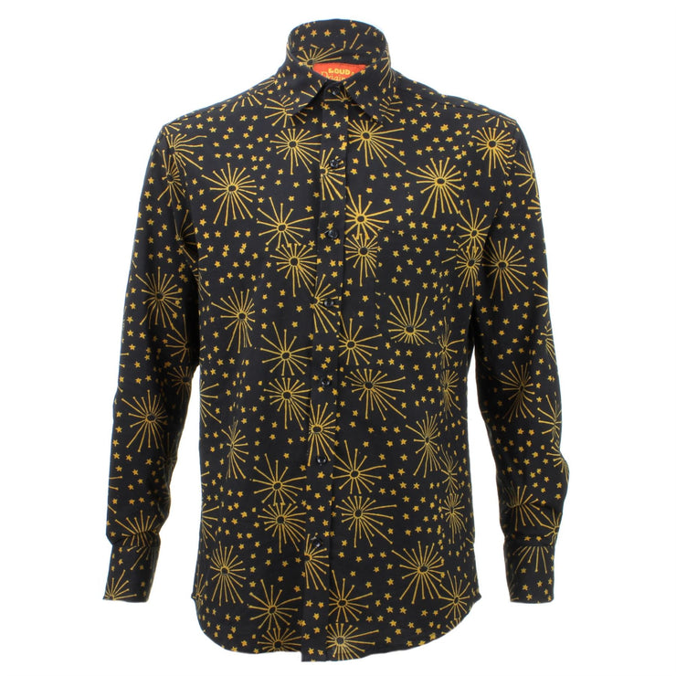Regular Fit Long Sleeve Shirt - Black with Yellow Stars & Fireworks