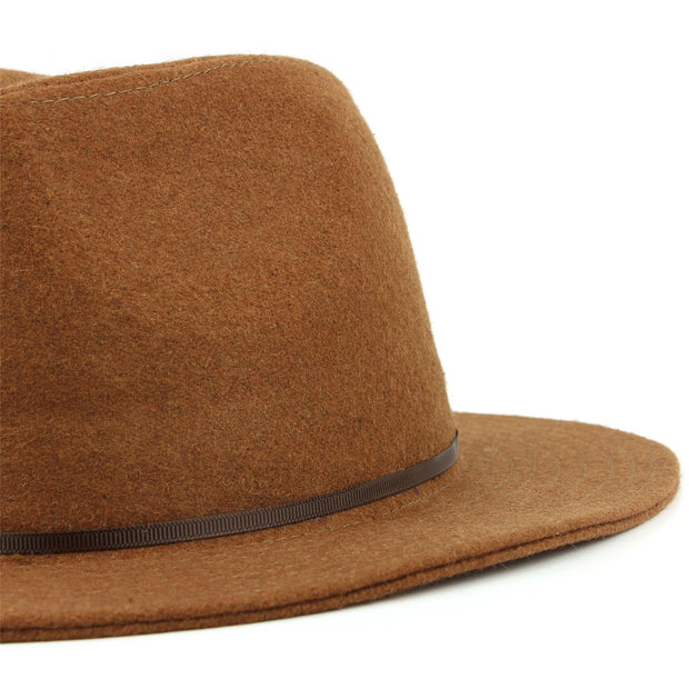 Wool fedora hat with flat brim and skinny contrast band - Brown (57cm)