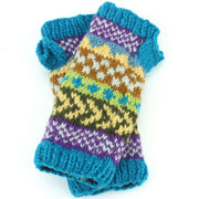 Chunky Wool Knit Arm Warmers - Chevron - Blue
