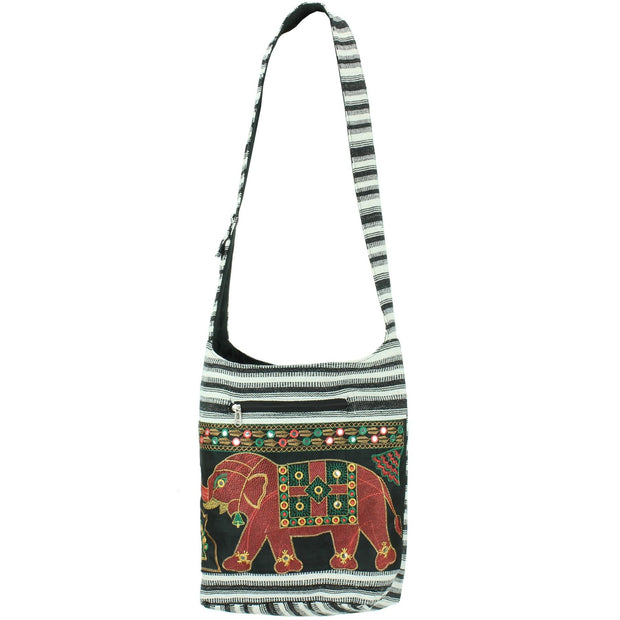Embroidered Elephant Canvas Sling Shoulder Bag - Black White
