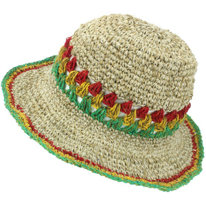 Hemp & Cotton Crochet Sun Hat - Rasta