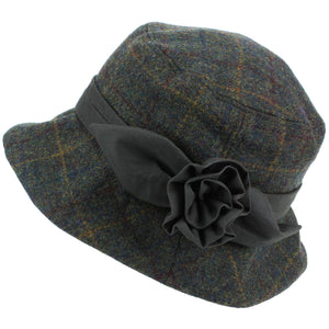 Ladies Wool Tweed Cloche Hat  - Green