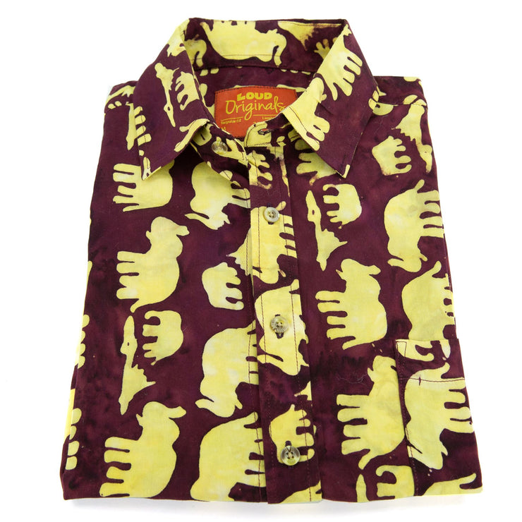Regular Fit Short Sleeve Shirt - Herd of Elephants - Maroon