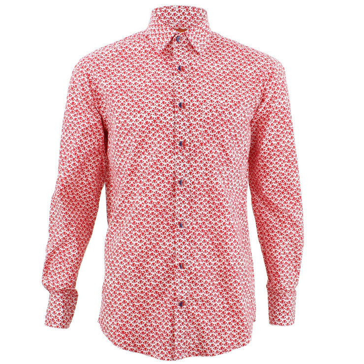 Regular Fit Long Sleeve Shirt - Red Abstract Croissants