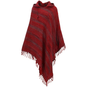 Vegan Wool Hooded Poncho - Dark Red