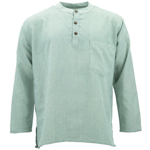 Cotton Grandad Collar Shirt - Grey
