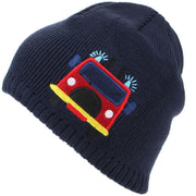 Childrens Fine Knit Beanie Hat with Embroidered Fire Engine - Navy