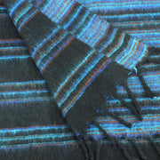 Vegan Wool Shawl Blanket - Stripe - Black Blue