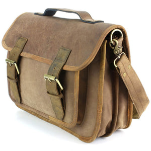 Real Leather Two Compartment Satchel - Light Brown