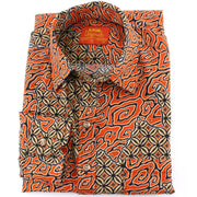 Tailored Fit Long Sleeve Shirt - Diagonal Orange Swirls