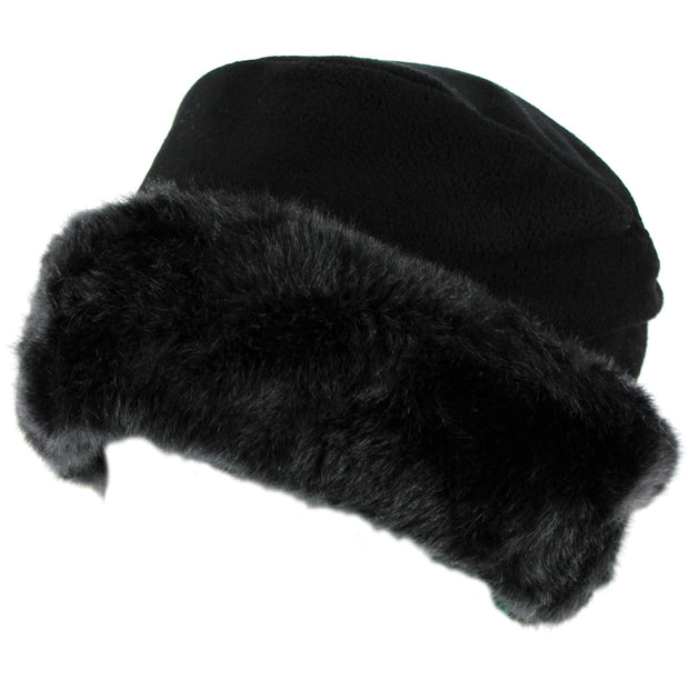 Fleece Hat with a Faux Fur cuff - Black