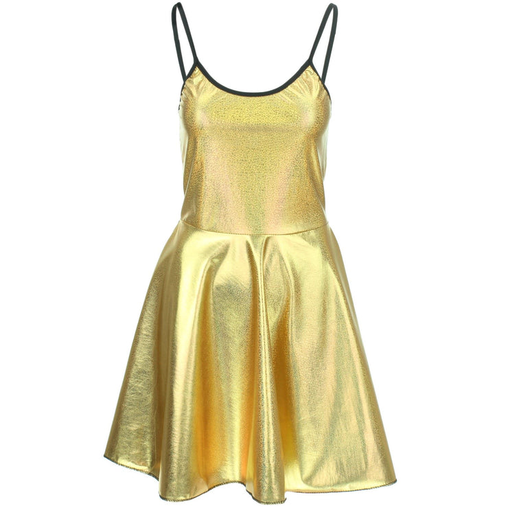 Shiny Strappy Dress - Gold