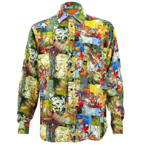 Regular Fit Long Sleeve Shirt - Autumn Patchwork - Yellow
