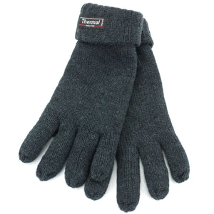 Fold Up Cuffs Thermal Gloves - Grey