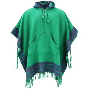 Soft Vegan Wool Hooded Tibet Poncho - Green Purple