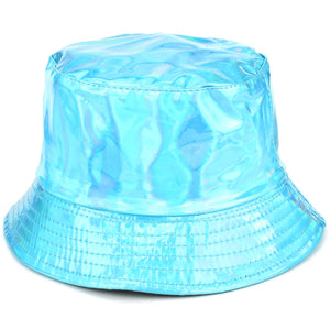 Shiny Metallic Bucket Hat - Turquoise