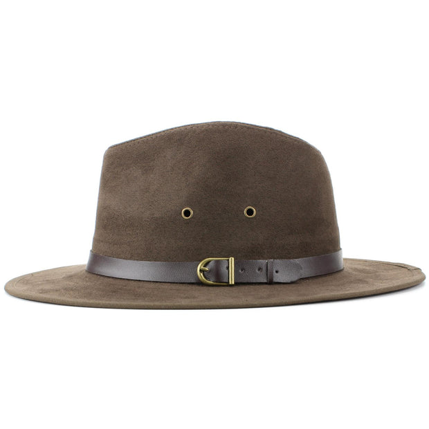 Suede Effect Fedora Hat with Leather Band - Brown