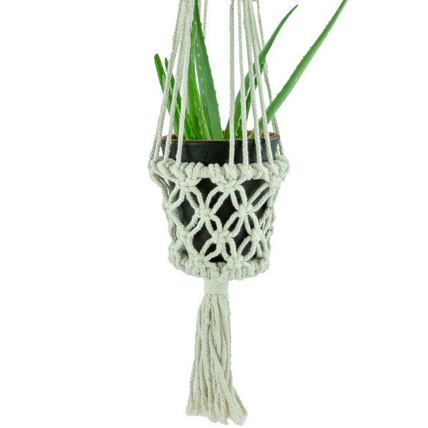 Macrame Hand Woven Rope Hanging Planter - Small (9cm Pot)