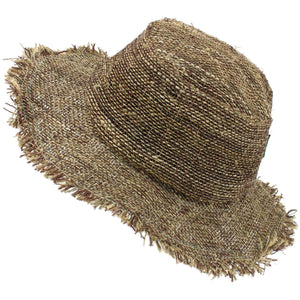 Frayed Brim Hemp Sun Hat - Brown Rust