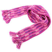 Long Narrow Chunky Wool Knit Scarf - Pink