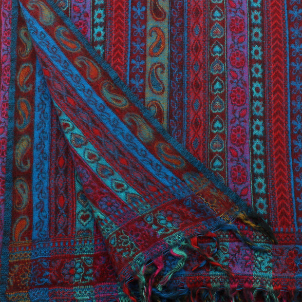 Acrylic Wool Shawl Blanket - Stripe - Red & Turquoise