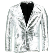 Shiny Metallic Embossed Jacket - Silver