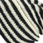 Wool Knit Ridge Beanie Hat with Fleece Lining - White & Black