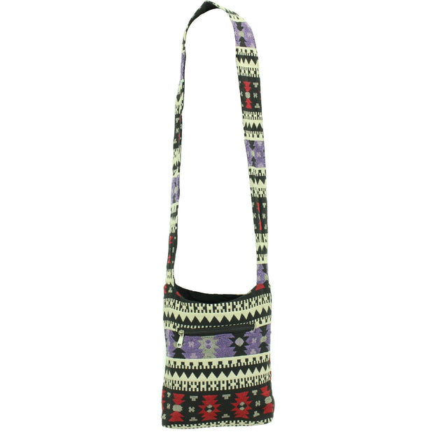 Cotton Canvas Sling Shoulder Bag - Aztec Purple Red