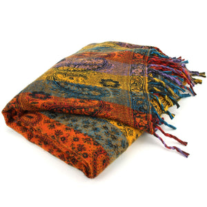 Vegan Wool Shawl Blanket - Paisley Stripe - Orange & Yellow